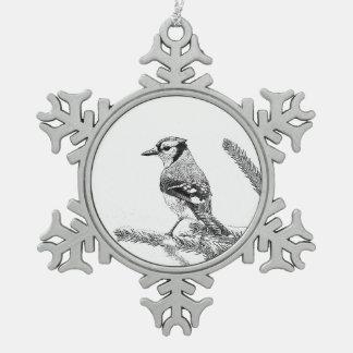 Blaues Jay in der Winter-Skizze Schneeflocken Zinn-Ornament