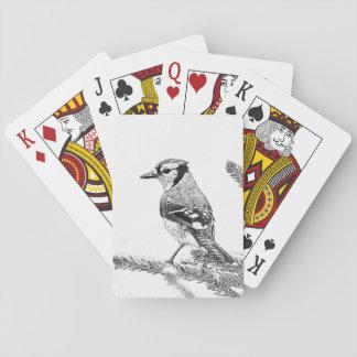 Blaues Jay in der Winter-Skizze Spielkarten