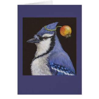 blaues Jay mit Holzapfelkarte Karte