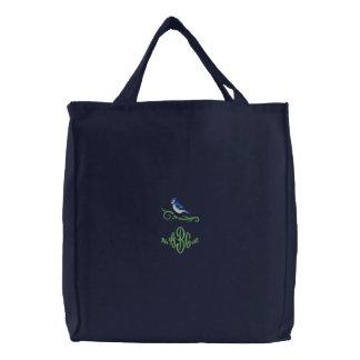 Blaues Jay-Monogramm gestickte Tasche