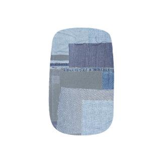 Blaues Jean Patchwork-Denim Shibori Boro Boro Minx Nagelkunst