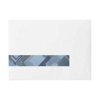 Blaues Jean Patchwork-Denim Shibori Boro Boro Rundum-Adressaufkleber