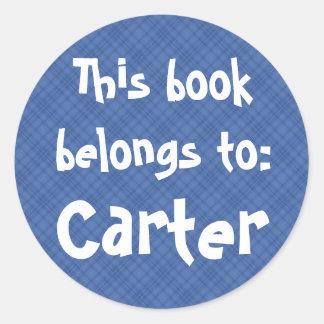 """Blaues kariertes """"dieses Buch gehört"""" Aufkleber"""