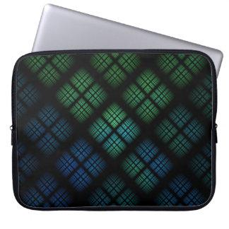 Blaues kariertes laptopschutzhülle