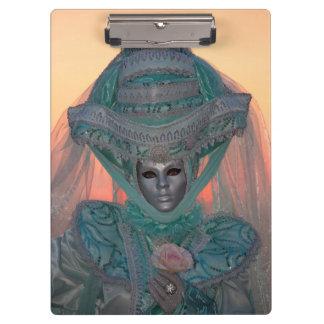Blaues Karnevals-Kostüm, Venedig Klemmbrett