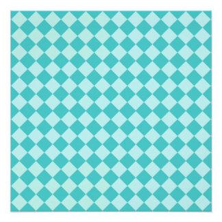 Blaues Kombinations-Diamant-Muster Poster