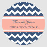 Blaues korallenrotes Zickzack danken Ihnen Gastges Stickers