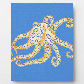 Blaues Kraken-Buntglas Fotoplatte