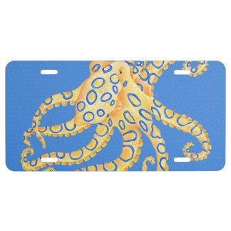 Blaues Kraken-Buntglas US Nummernschild