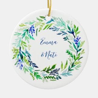 Blaues Kranz-Monogramm Keramik Ornament