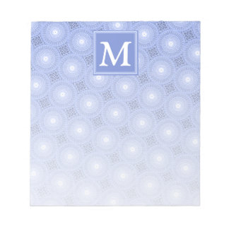 Blaues Kreismuster des Monogramms Notizblock