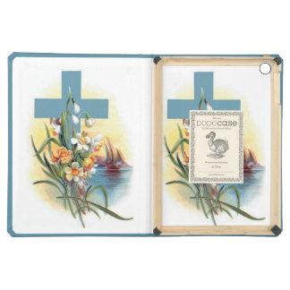 Blaues Kreuz mit Blumen und Booten
