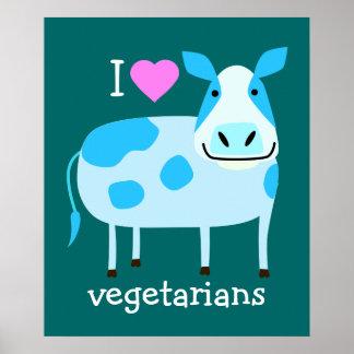 Blaues Kuh-Vegetarier-Plakat Poster