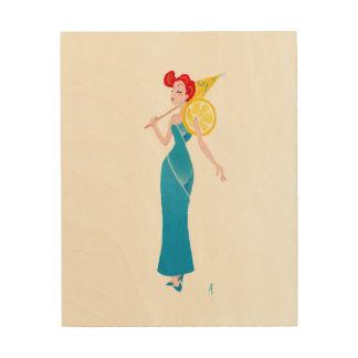 "Blaues Lagune-""Cocktail-"" Kleid Holzleinwand"