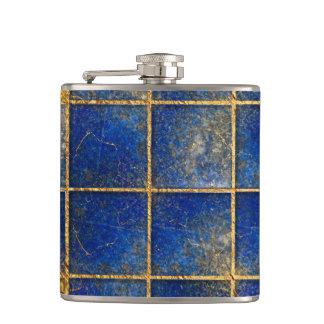Blaues Lapislazuli- und Goldmuster Flachmann