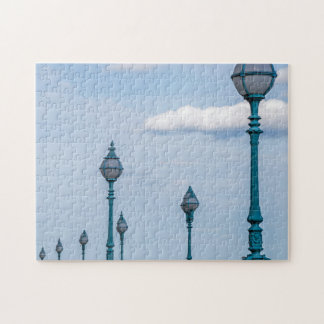 Blaues Laternenpfahl-Fotopuzzlespiel Puzzle