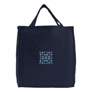 Blaues Leinwand-Taschentasche der Schneeflocke Bestickte Tragetasche