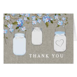 Blaues Leinwand-Weckglas danken Ihnen Karte
