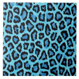 blaues Leoparddruckmuster - wilder Spaß-Punkrock Keramikfliese