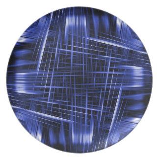 Blaues Lichtstrahlmuster Teller