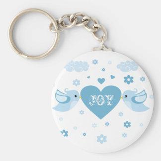 Blaues Liebe-Vogel-Herz-Baby Standard Runder Schlüsselanhänger