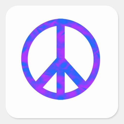 Blaues/lila abstraktes Friedenssymbol Quadrataufkleber
