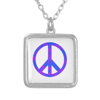 Blaues/lila abstraktes Friedenssymbol Halskette Mit Quadratischem Anhänger