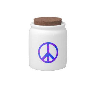 Blaues/lila abstraktes Friedenssymbol Keramik Küchenbehälter