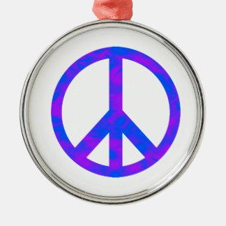 Blaues/lila abstraktes Friedenssymbol Weihnachtsbaum Ornamente