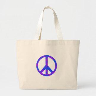 Blaues/lila abstraktes Friedenssymbol Jumbo Stoffbeutel