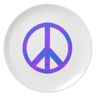 Blaues/lila abstraktes Friedenssymbol Flache Teller