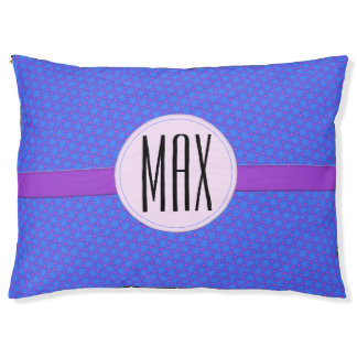 Blaues lila geometrisches personalisiertes haustierbett