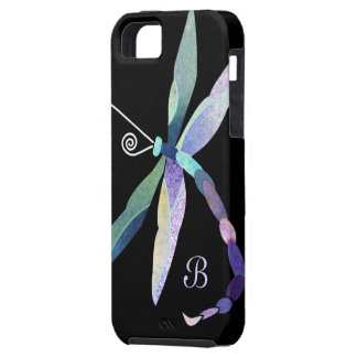 Blaues lila grünes Libellen-Monogramm iPhone 5 Hülle