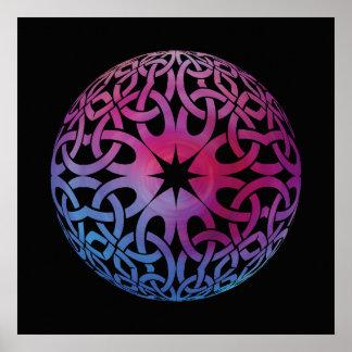 Blaues lila keltisches Knotenkreis Plakat
