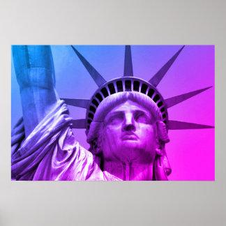 Blaues lila Pop-Kunst-Freiheitsstatue New York Poster