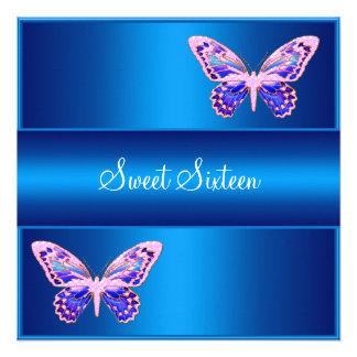 Blaues lila rosa Schmetterlings-Party 16 Einladungskarte