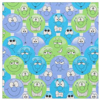 Blaues, lila und grünes Emoji Muster Stoff