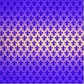 Blaues Lilienmuster der Vintagen Steigung Freistehende Fotoskulptur