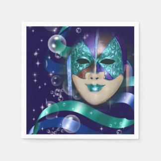 Blaues Mädchen-Party des Maskeradeaqua Papierserviette