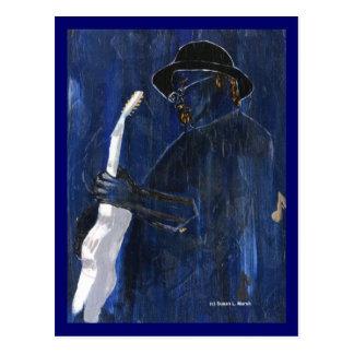 Blaues malendes Acryl des Blues-Gitarrenspielers Postkarte