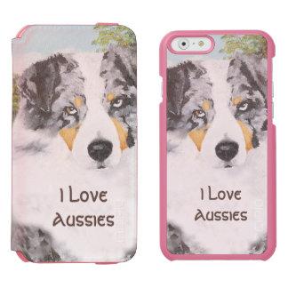 Blaues Merle Australier-Porträt Incipio Watson™ iPhone 6 Geldbörsen Hülle