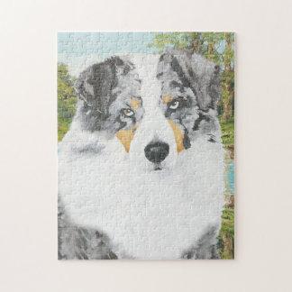 Blaues Merle australisches Schäfer-Hundeporträt Puzzle