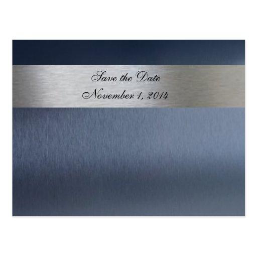 Blaues metallisches Save the Date Postkarte
