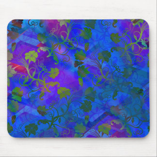 Blaues mit Blumenabstraktes Mousepads