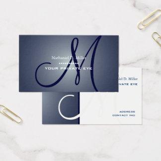 Blaues Mitternachtsmonogramm Visitenkarte