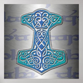 Blaues Mjölnir auf Tengwar Poster