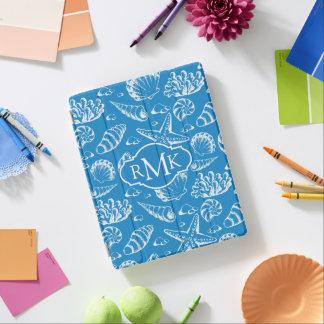 Blaues Monogramm des Strand-Muster-| iPad Hülle