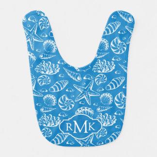 Blaues Monogramm des Strand-Muster-| Lätzchen