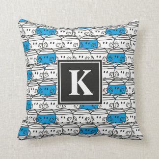 Blaues Monogramm Herr-Bump | Muster-| Kissen