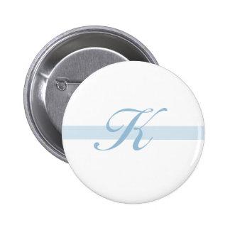 Blaues Monogramm K Runder Button 5,7 Cm